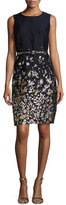 Oscar de la Renta Floral-Embroidered Sleeveless Sheath Dress, Navy/Gold