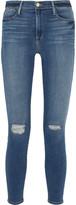 Frame Le High Skinny Distressed Jeans - Dark denim