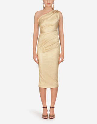 Dolce & Gabbana One-Shoulder Lame Longuette Dress