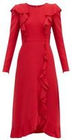 Giambattista Valli Ruffled Boucle Midi Dress - Womens - Red