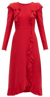 Giambattista Valli Ruffled Boucle Midi Dress - Womens - Red