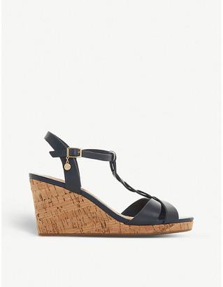 Dune Koala leather wedge sandals