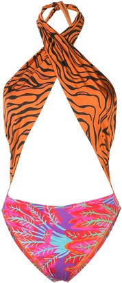 Reina Olga Italian Stallion print-mix swimsuit
