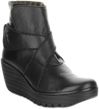 Fly London Yedd Leather Wedge Bootie