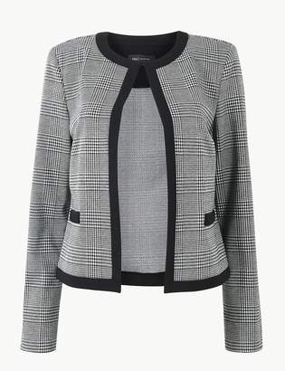 M&S CollectionMarks and Spencer Jersey Checked Edge To Edge Short Blazer