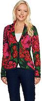 Isaac Mizrahi Live! Jacquard Floral Sweater Blazer