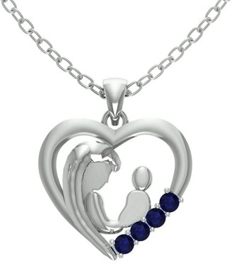 Essence Jewelry Country Of Sapphire Sterling Silver Round Short Pendent by Essence Jewelry
