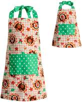 Dollie & Me Girls 4-16 Reversible Thanksgiving Turkey & Christmas Tree Apron Set