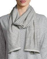 Eileen Fisher Mini Striped Organic Linen/Cotton Scarf