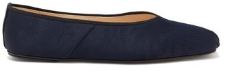 The Row Ballet Square-toe Faille Flats - Dark Blue