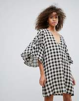 Traffic People Gingham Kimono Sleeve Shift Dress