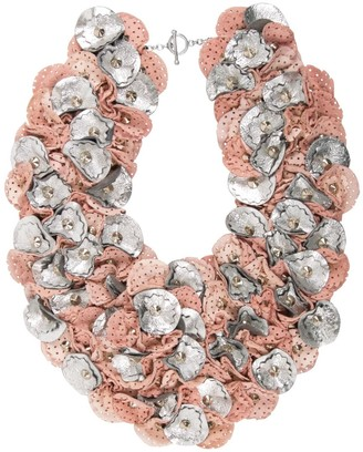 Manley Leather Embellished Piper Collar Pink & Silver