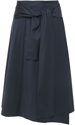 Joseph Wrap-effect Pinstriped Wool-blend Twill Midi Skirt