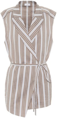 Brunello Cucinelli Exclusive to Mytheresa Striped cotton and silk wrap shirt