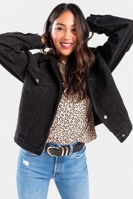 francesca's Emmanuelle Sherpa Lined Denim Jacket - Black