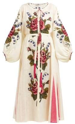 Vita Kin - Dorian Floral-embroidered Linen Midi Dress - Womens - Cream Multi