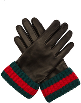 Gucci Striped-knit and leather gloves