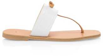 Joie Baled Croc-Embossed Leather Thong Sandals