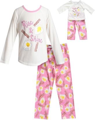 Dollie & Me Girls 4-14 Eggs & Bacon Breakfast Top & Bottoms Pajama Set & Matching Doll Pajamas