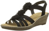 Rieker Women Sandals 62461 Ladies Wedge Sandals Wedge Sandals Summer Shoes Comfortable high Schwarz/Schwarz / 00 38 EU / 5 UK