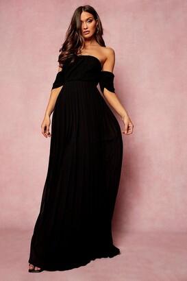 boohoo Pleated Bardot Bridesmaid Maxi Dress