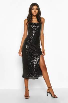 boohoo Tall Thigh Split Sequin Midi Dress