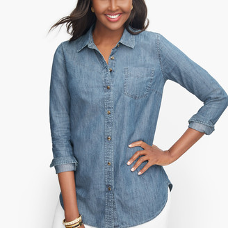 Talbots Button Front Denim Shirt