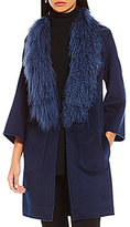 Zac Posen Lauren Reversible Two-Toned Lamb-Fur Collar Wool Coat