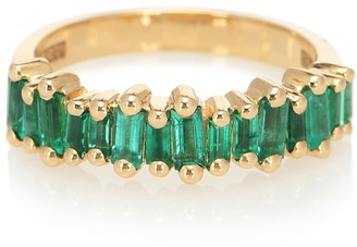 Suzanne Kalan Fireworks 18kt gold ring with emeralds