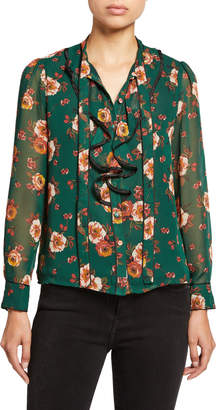 J.o.a. Ruffle-Front Floral-Print Chiffon Blouse
