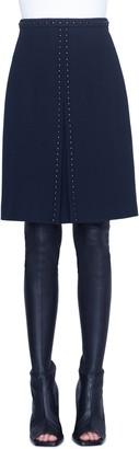 Akris Punto Rivet Detail Wool A-Line Skirt