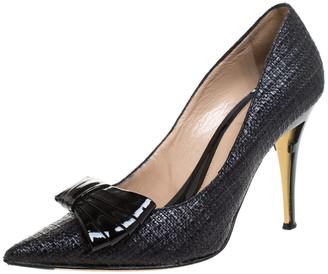 Fendi Black Raffia Bow Pointed Toe Pumps Size 40