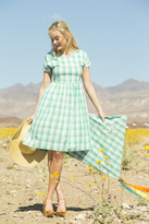 Shabby Apple Lillian Stretch Poplin Plaid Dress Green