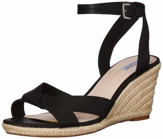 Tahari Womens Joslyn Wedge Sandal Black Leather 7 M