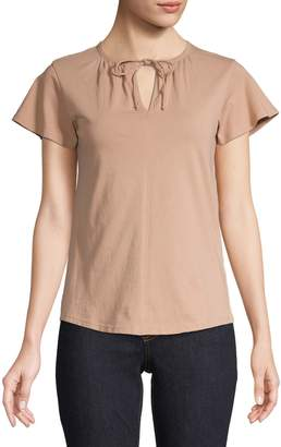 Lord & Taylor Petite Tie-Neck Tee