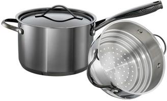 Baccarat iD3 Black Platinum Stainless Steel Saucepan & Steamer Set 20cm
