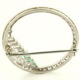 excellent (EX) Art Deco Platinum Diamond Emerald Circle Cocktail Brooch
