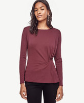 Ann Taylor Petite Crepe Side Pleat Top
