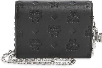 MCM Klara Monogram Leather Wallet on a Chain