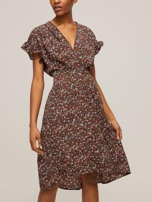 Max Studio Ruffle Sleeve Tie Waist Floral Print Dress, Brown/Multi