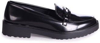 Linzi LOLITA - Black High Shine Chunky Loafer With Front Chain Detail