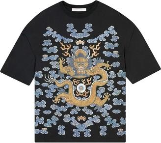 Fenty Dragon/No More Music-print oversized T-shirt