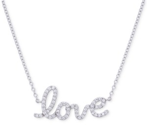 "Wrapped Diamond Love 17"" Pendant Necklace (1/6 ct. t.w.) in 14k White Gold"