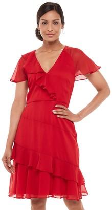 Chaps Women's Ruffled Surplice Chiffon Dress