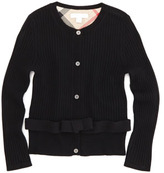 Burberry Extra-Fine Knit Cardigan, Black, 4Y-10Y