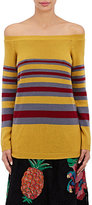 Valentino WOMEN'S STRIPED CASHMERE OFF-THE-SHOULDER SWEATER