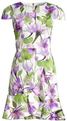 Alice + Olivia Kirby Cap Sleeve Floral Ruffle Dress