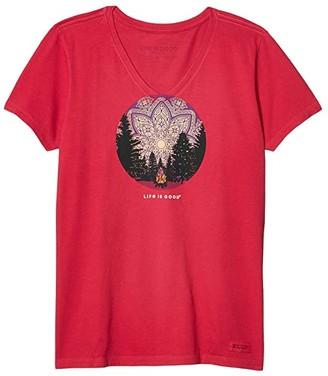 Life is Good Camp Mandala Crusher Vee (Sangria Red) Women's Clothing