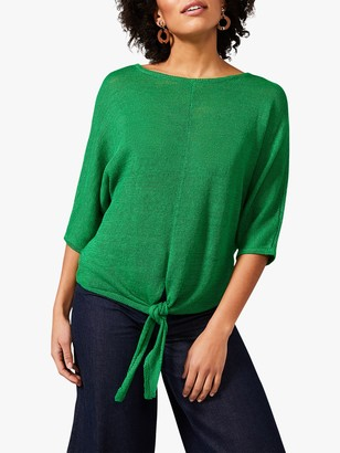 Phase Eight Roxana Tie Front Linen Knit Top, Forrest Green