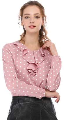 Unique Bargains Women's Long Sleeve Ruffle Neck Polka Dots Blouse Shirt M Pink